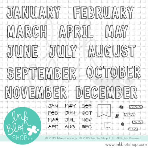 Big Block Monthly Headers (Calendar Builder) :: 6x8 Clear Stamp Set