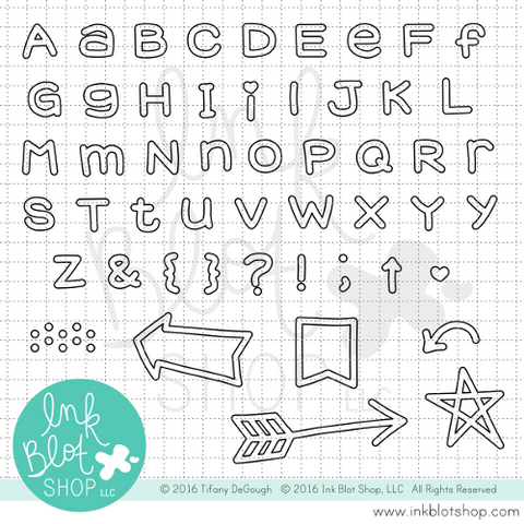 Chunky Alphabet (Outline) :: 4x8 Clear Stamp Set