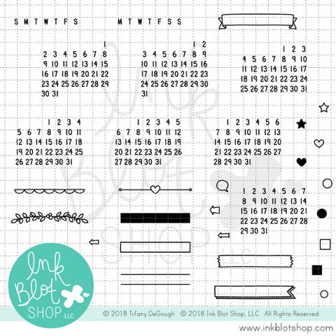 Date It (Calendar Builder) :: 4x6 Clear Stamp Set