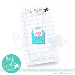 Envelope with Card and Heart :: Enamel Pin