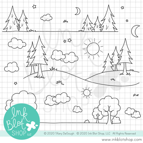 Landscape Borders :: 6x6 Clear Stamp Set