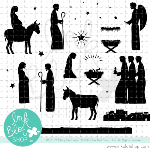 Nativity Silhouettes :: 6x8 Clear Stamp Set