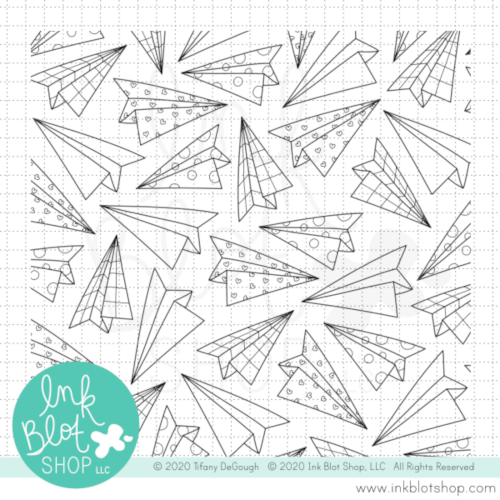 Paper Airplane Background :: 6x6 Clear Stamp