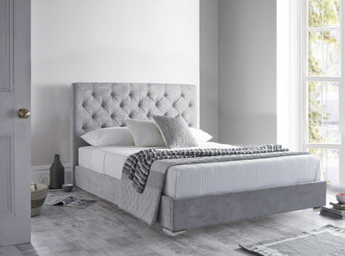 Neri Grey Naple Soft Velvet Upholstered Bed Bed Frame Prestige Furnishings UK