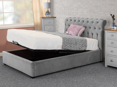 Chesterfield Grey Plush Sleigh Ottoman Storage Bed Bed Universe