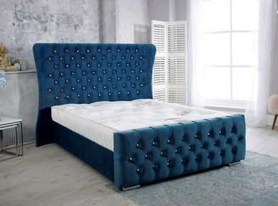 Zeta Blue Plush Fabric Wing back Bed Frame