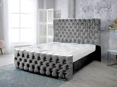 Grammy Steel Plush Fabric Wing back Bed Frame Winged Bed Bed Universe