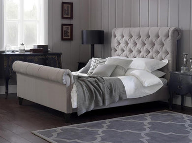 Julia Cream Naple Chesterfield Sleigh Scroll Bed Frame