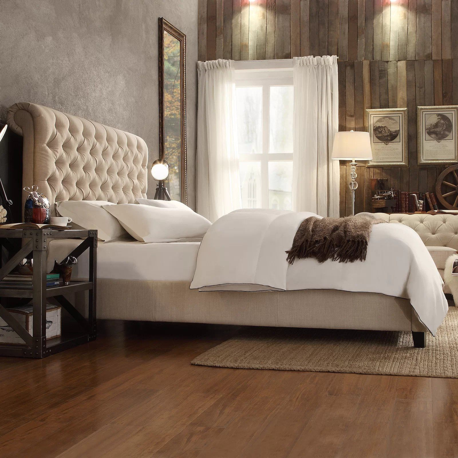 - Chesterfield Cream Chenille Normandy Sleigh Bed Frame My Vogue Living