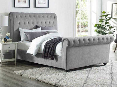 Atlas Grey Naple Chesterfield Sleigh Scroll Bed Frame Bed Frame Lorinzer living