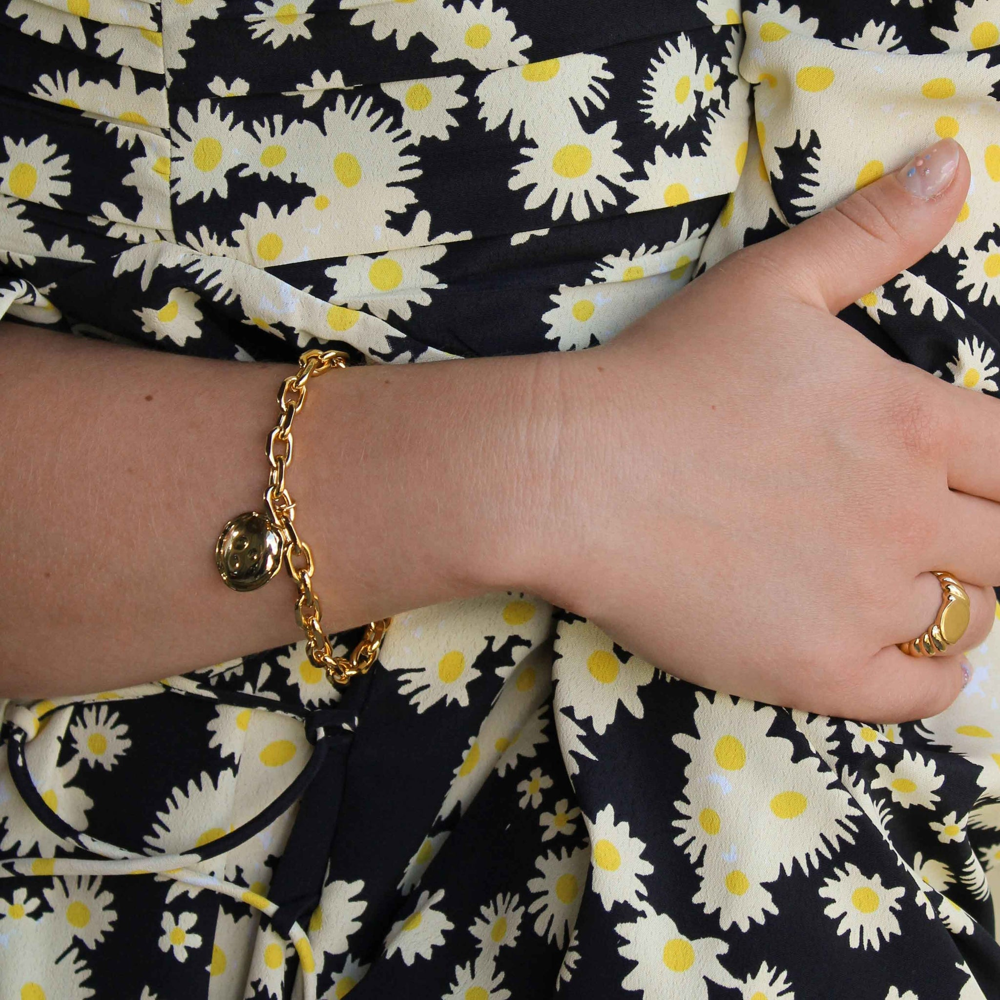 Coin Pendant Chunky Bracelet in Gold worn with chunky ring