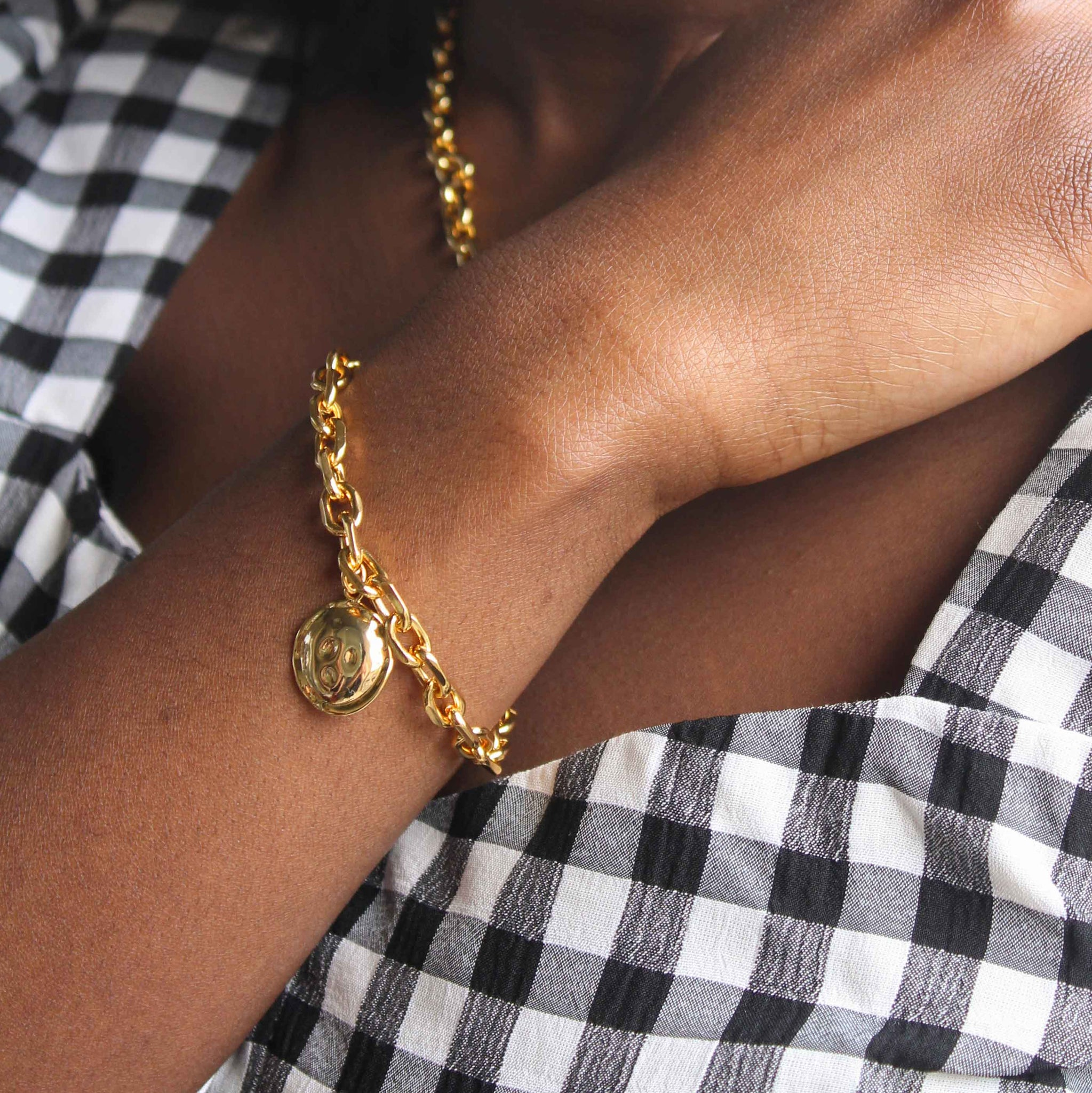 Coin Pendant Chunky Bracelet in Gold worn image