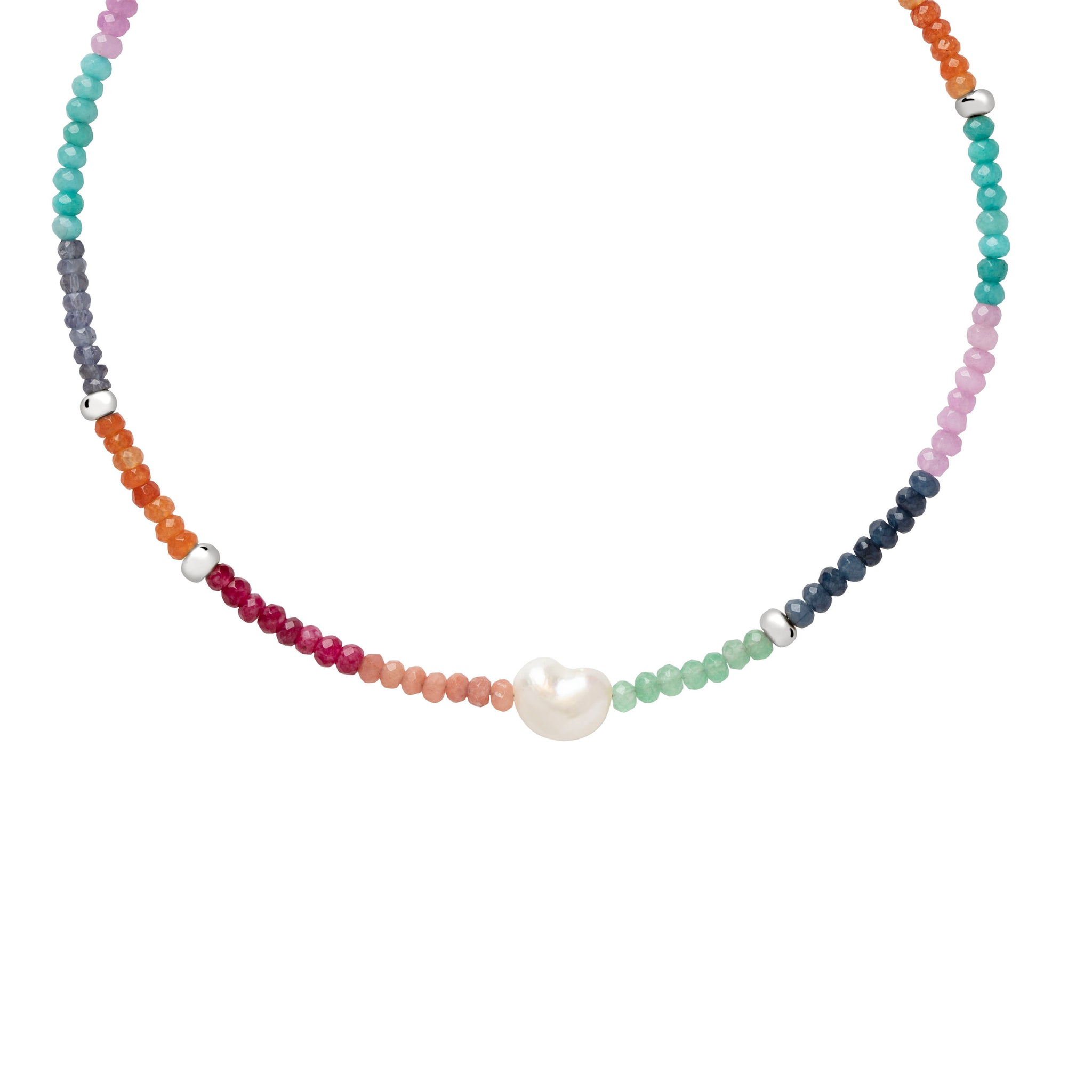 Semi-Precious Rainbow Necklace in Silver