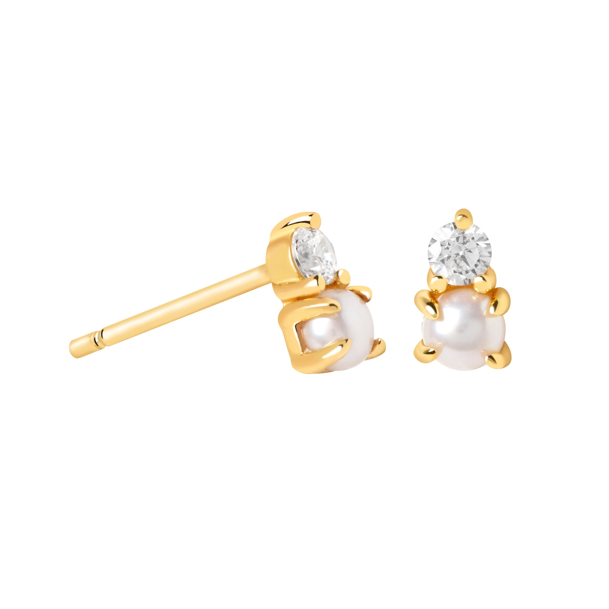 Illume Pearl Stud Earrings in Gold