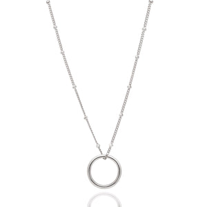 Basic Halo Pendant Necklace in Silver