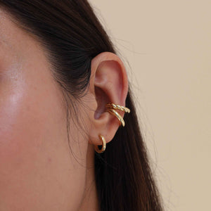 Single Square Edge Base Hoop in Gold worn with chunky ear cuffs