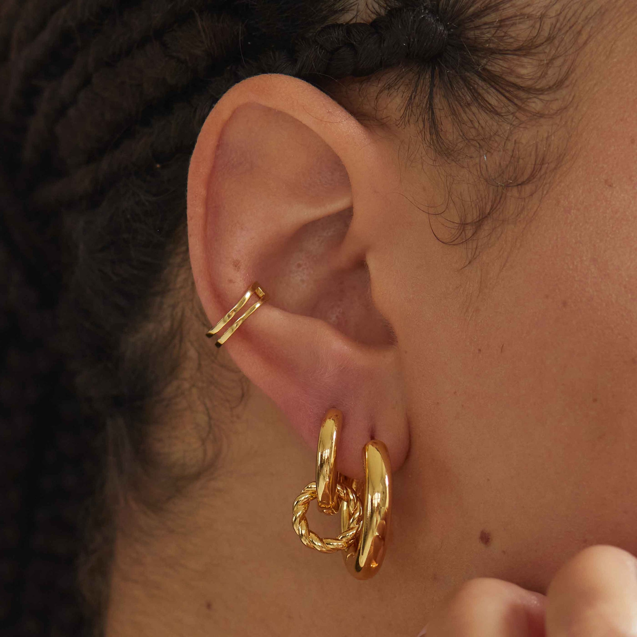 Chunky Hoops in Gold worn with gold ear cuff