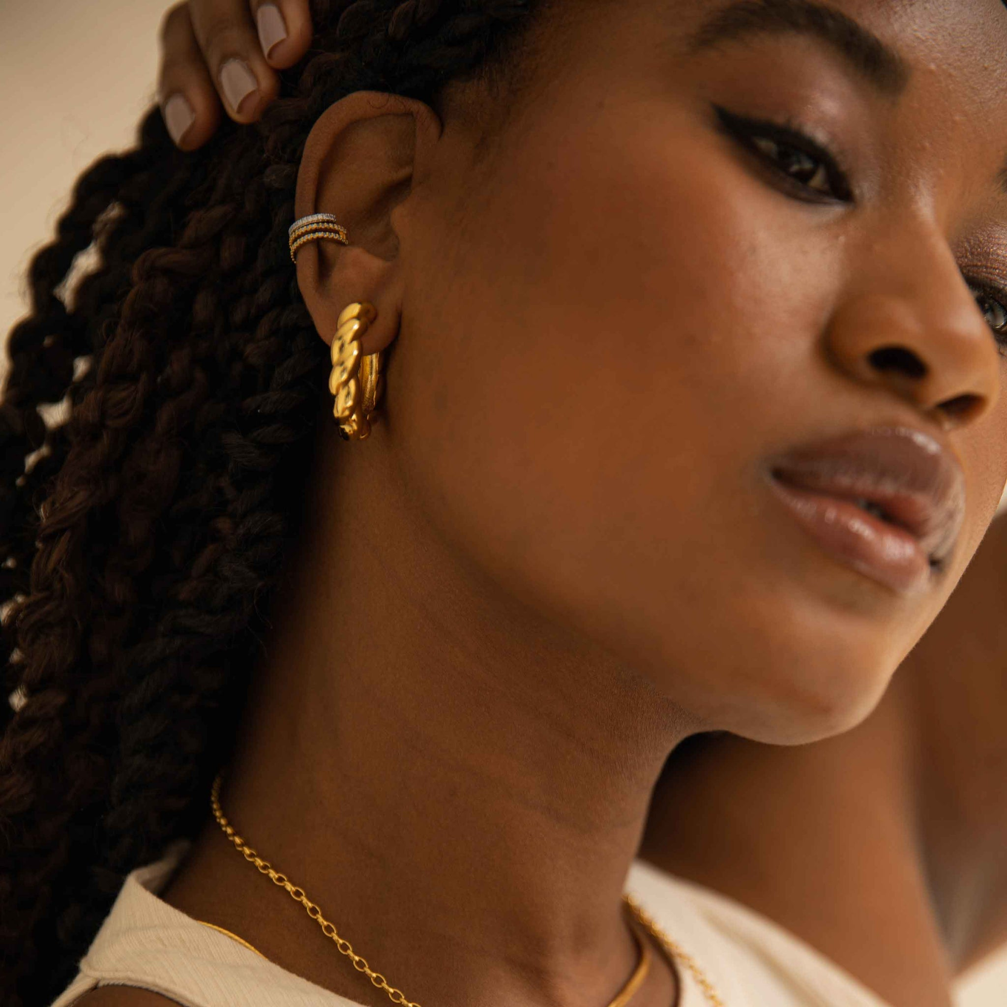 Chunky Rope Hoops in Gold worn with ear cuffs