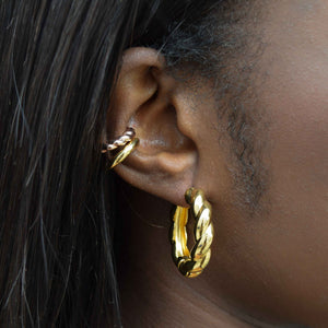 Chunky Rope Hoops in Gold worn with chunky ear cuffs