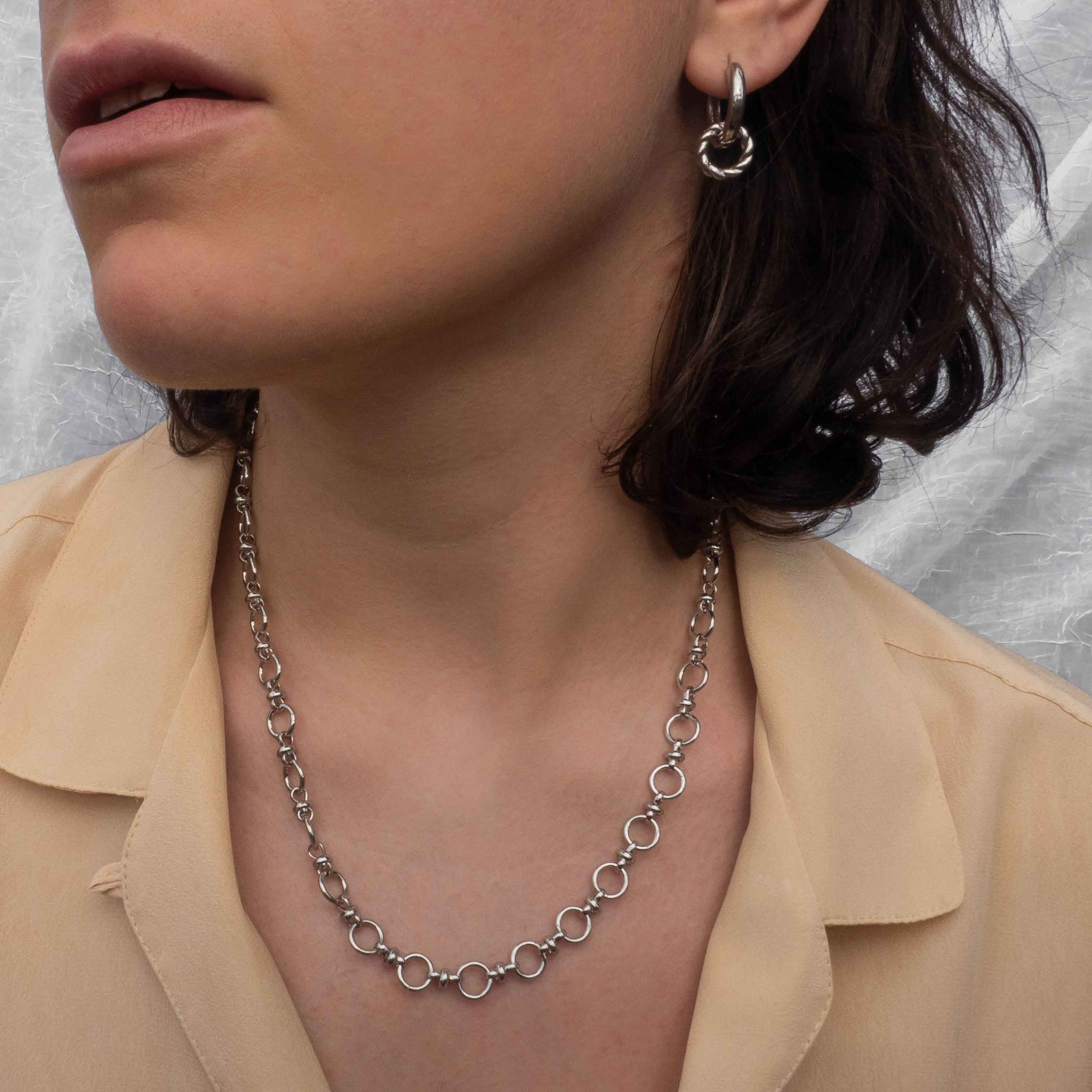 Circle Link Chain Necklace in Silver worn with silver hoops