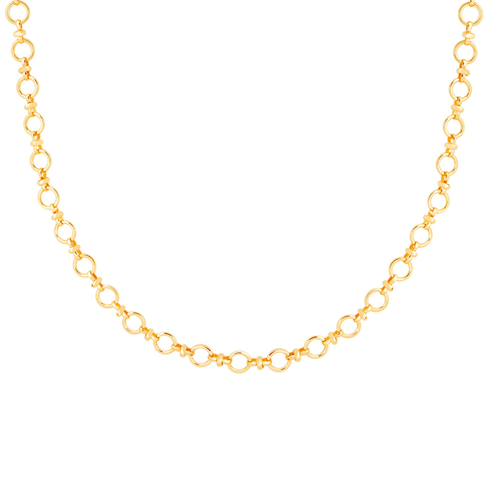 Circle Link Chain Necklace in Gold