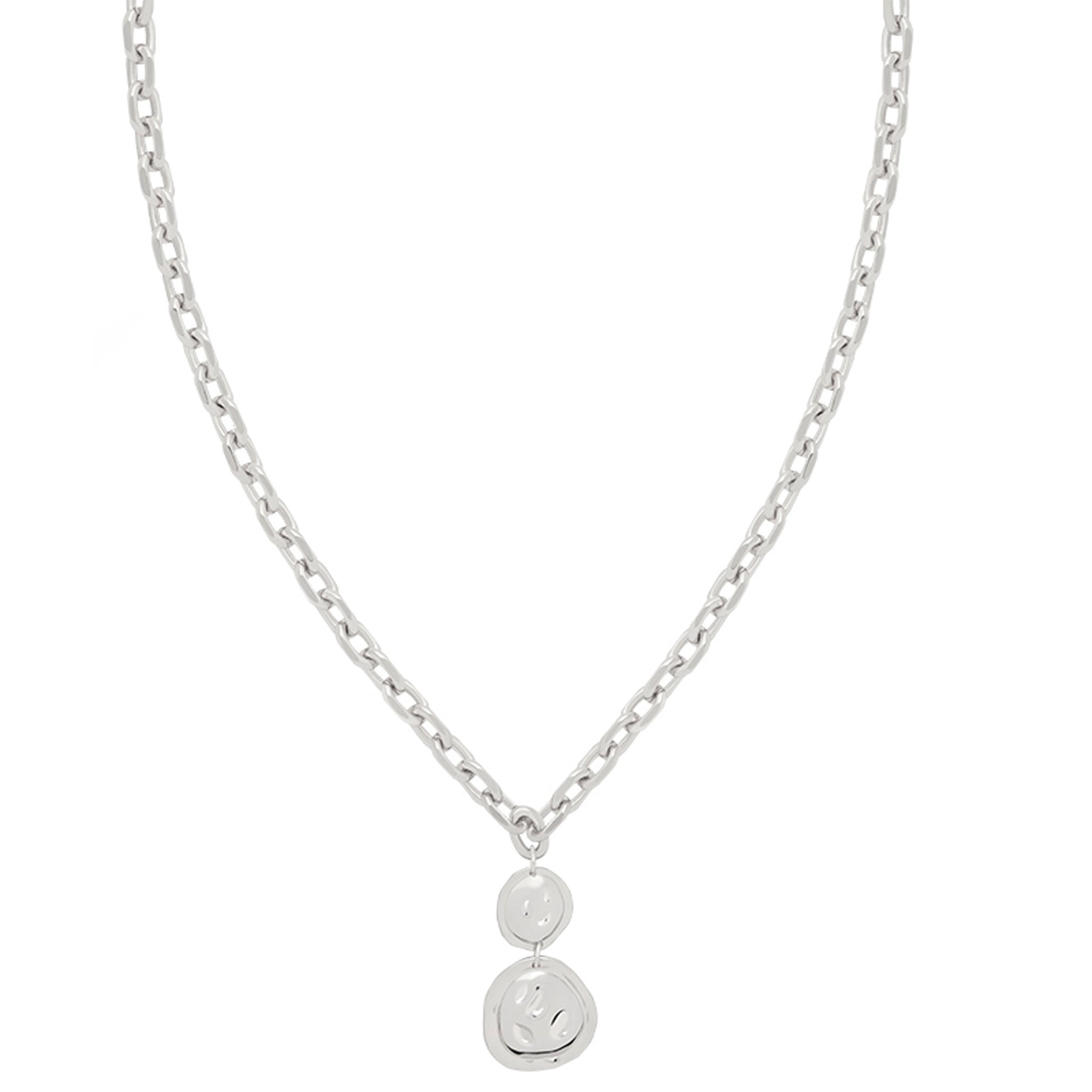 Coin Pendant Chunky Necklace in Silver