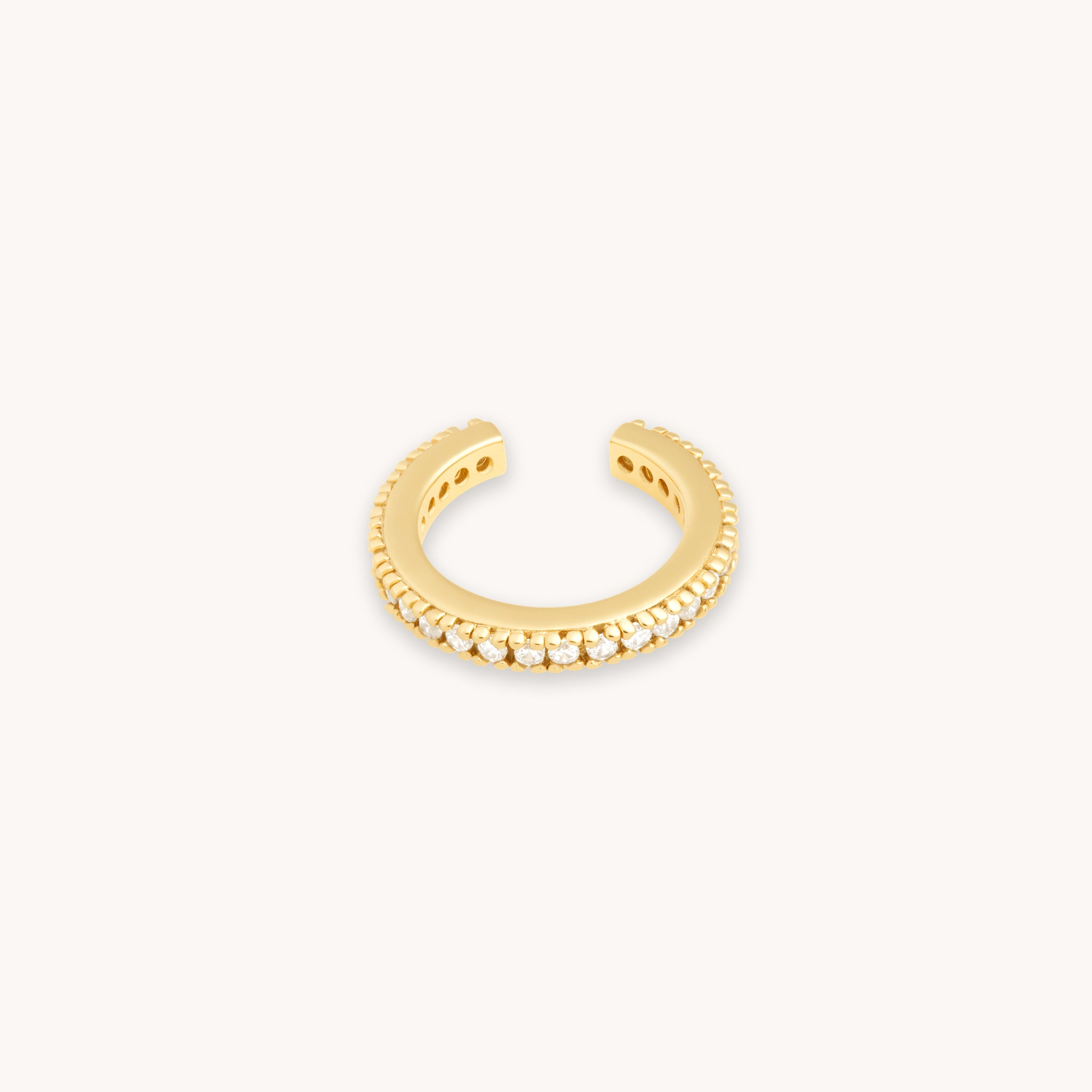 Mystic Simple Stud Earrings in Gold worn in third lobe piercing