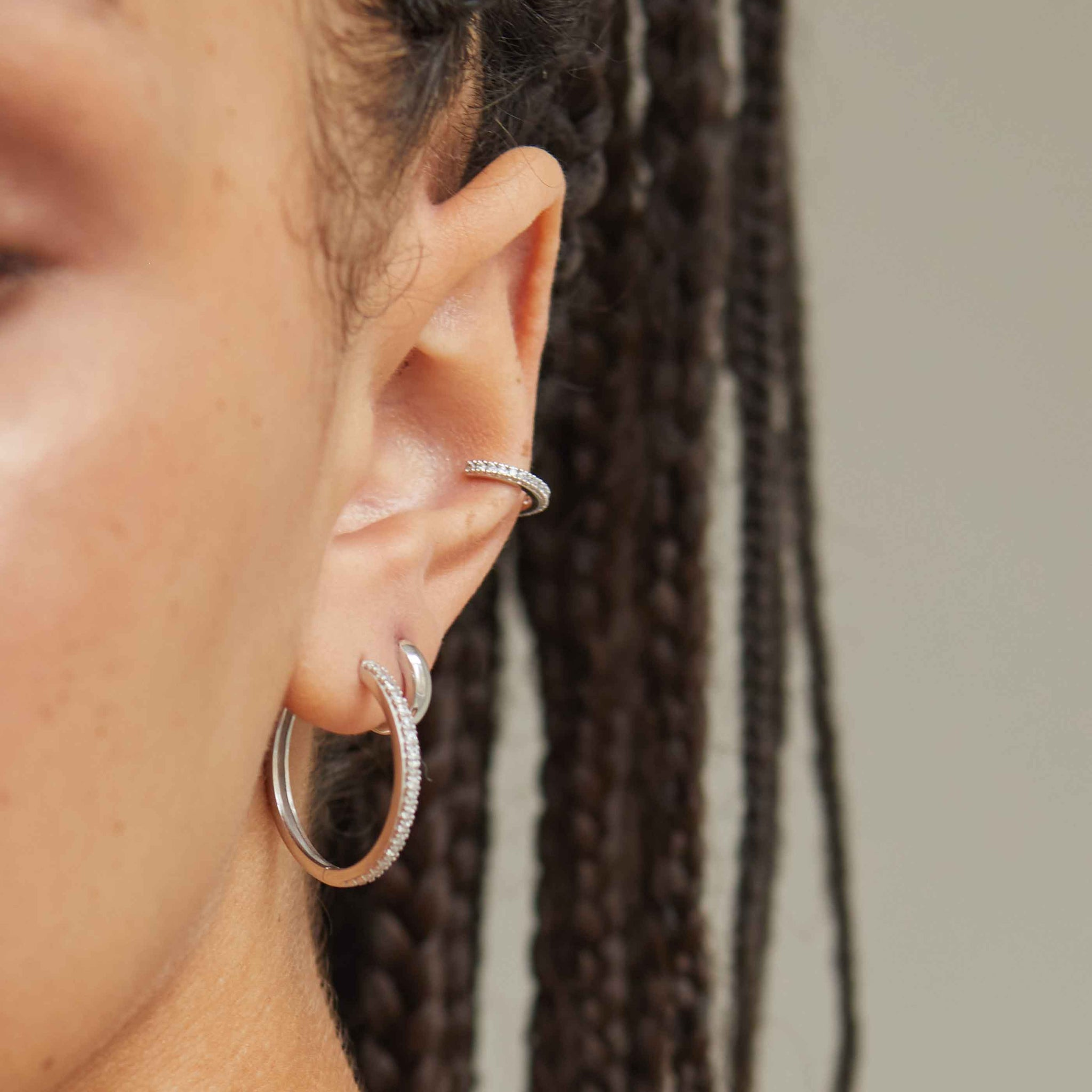Crystal Hinge Hoops in Silver worn
