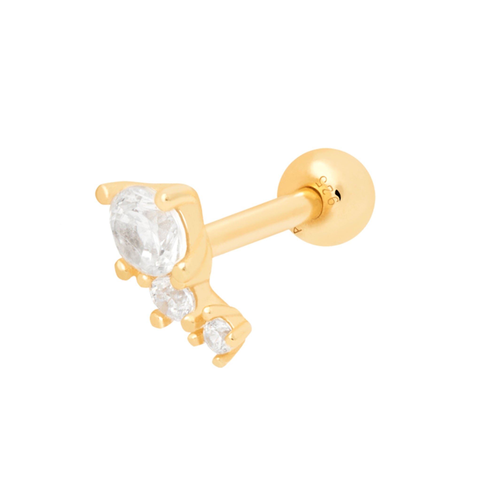 Crystal & Double Stone Barbell in Gold