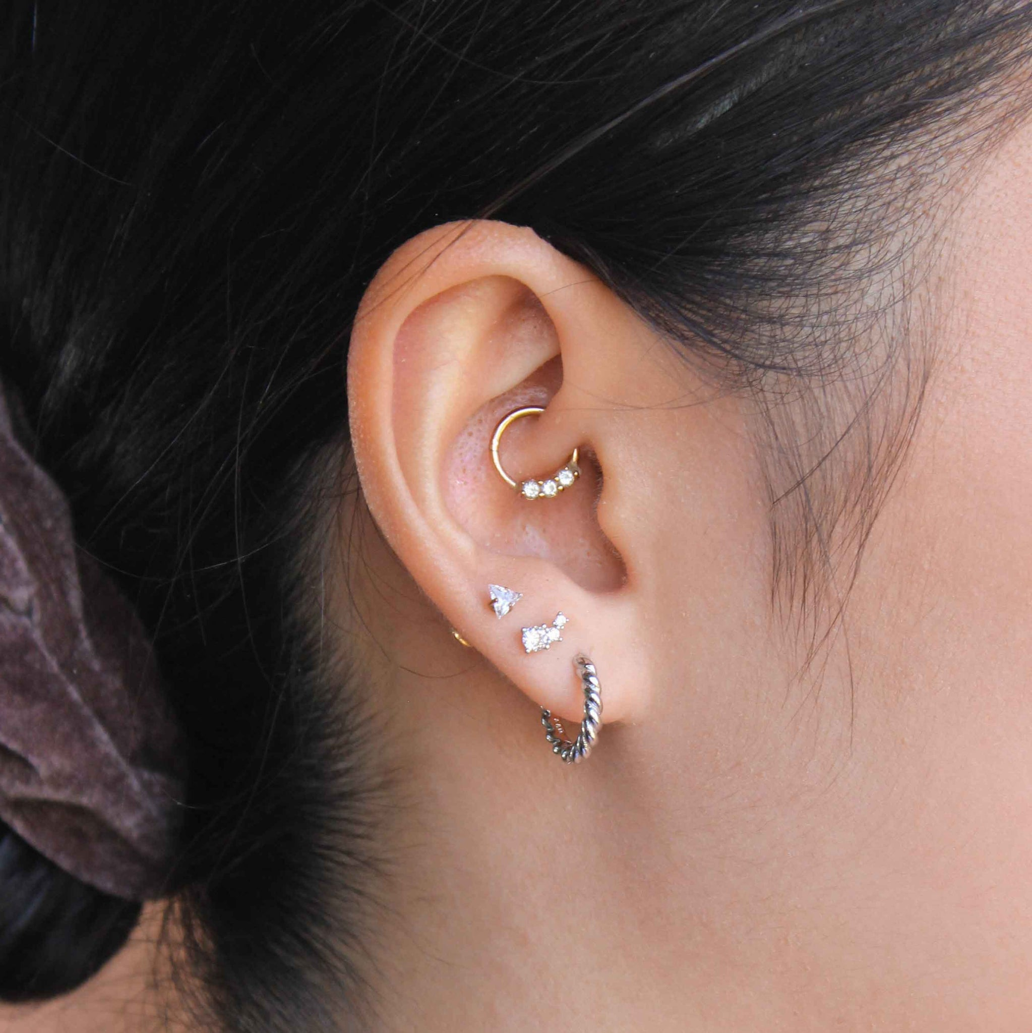 Crystal & Double Stone Barbell in Silver worn in second lobe piercing