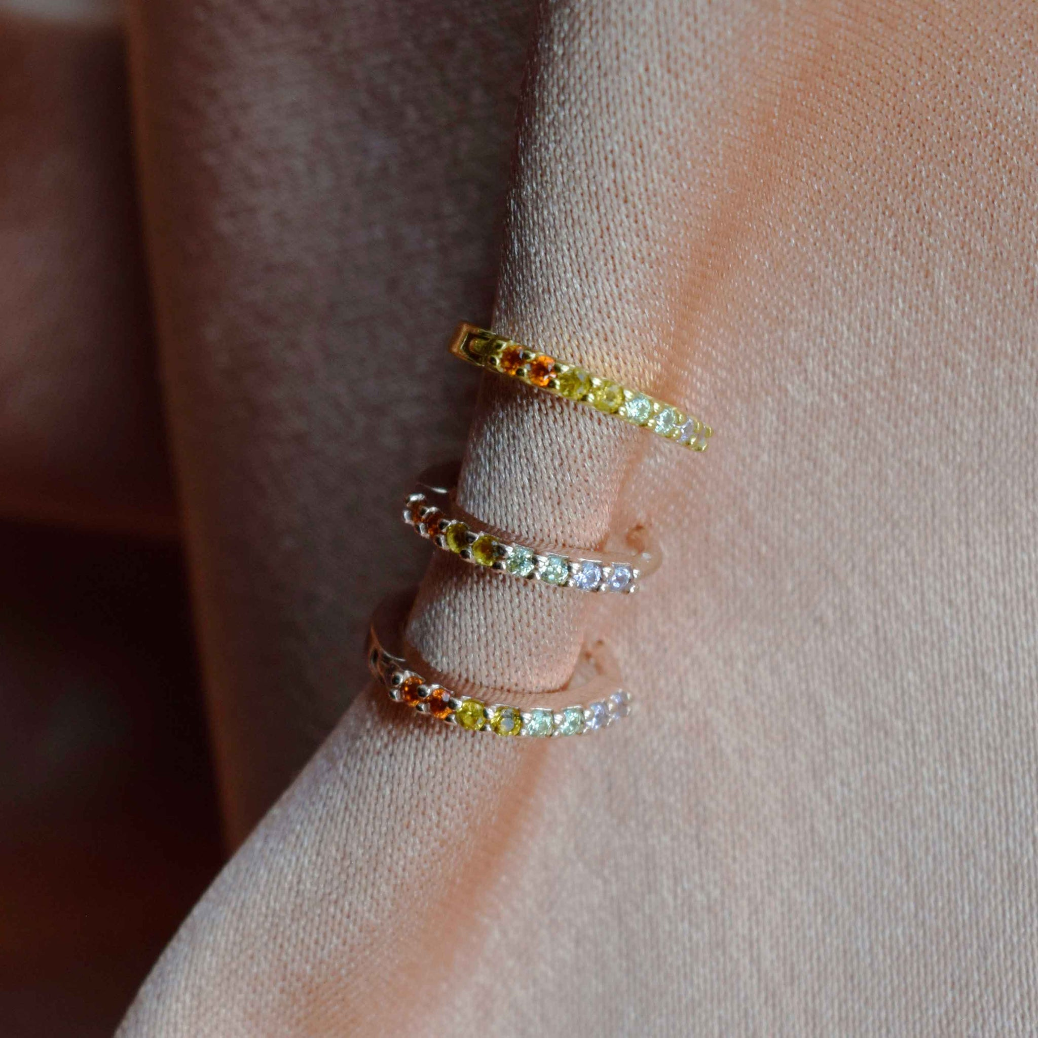 Light Rainbow Jewelled Huggies in Rose Gold