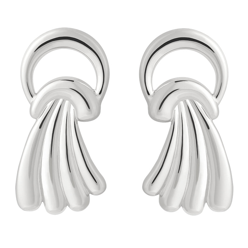 Waterfall Stud Earrings in Silver