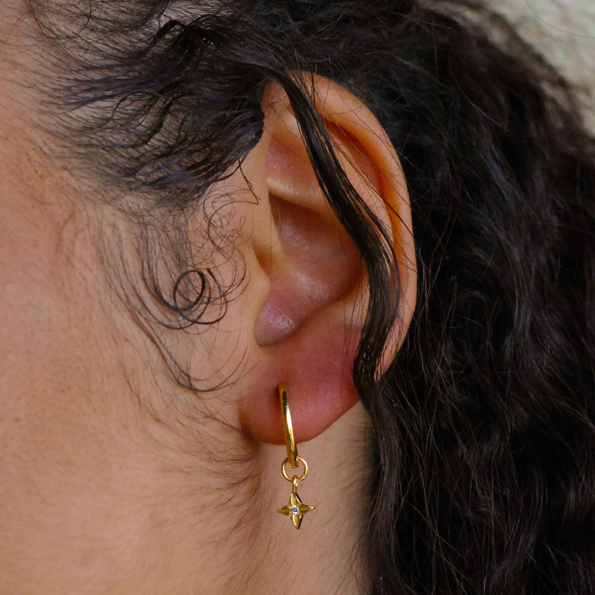 Etched Star Hoops in Gold worn shot