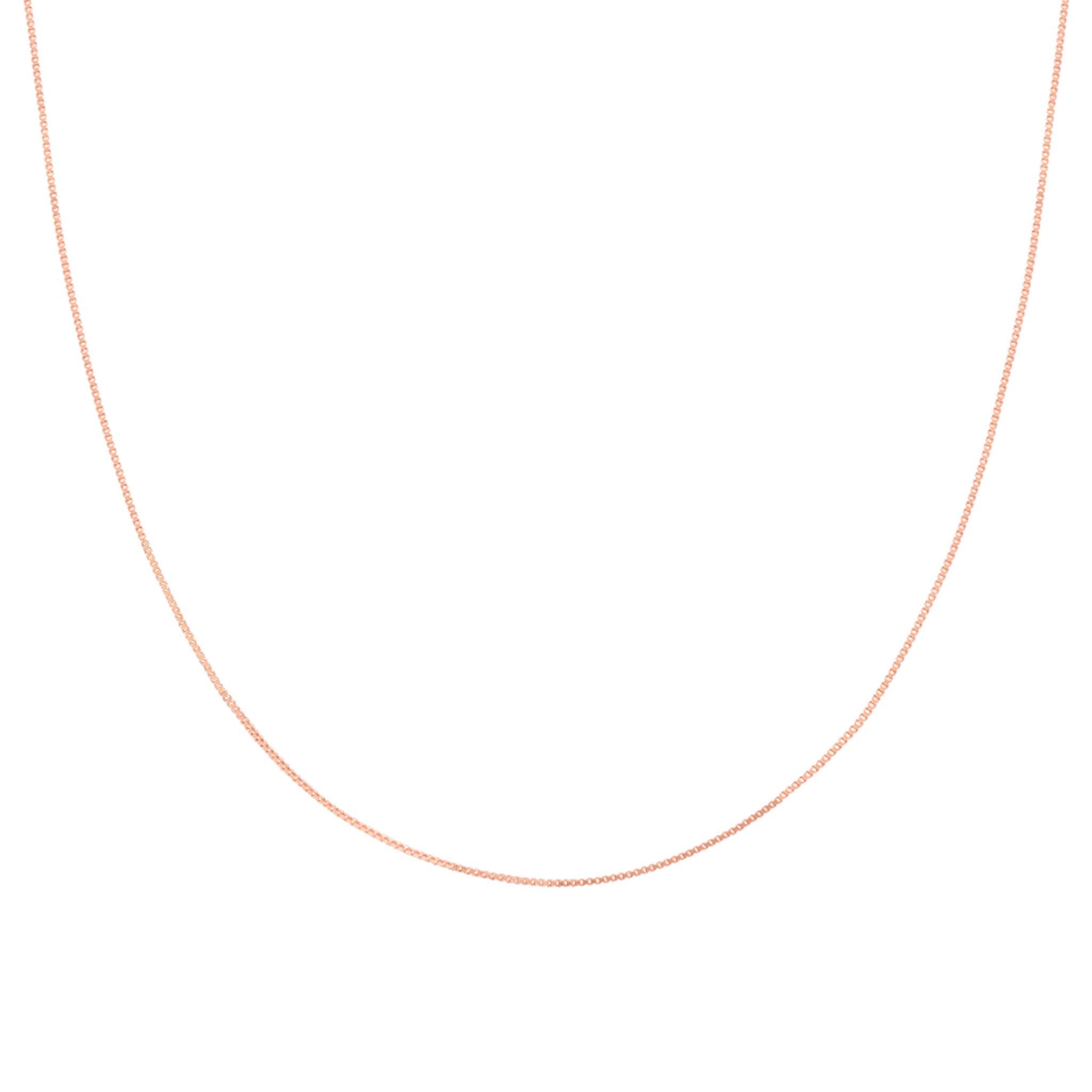 Fine Box Chain 40cm in Rose Gold worn