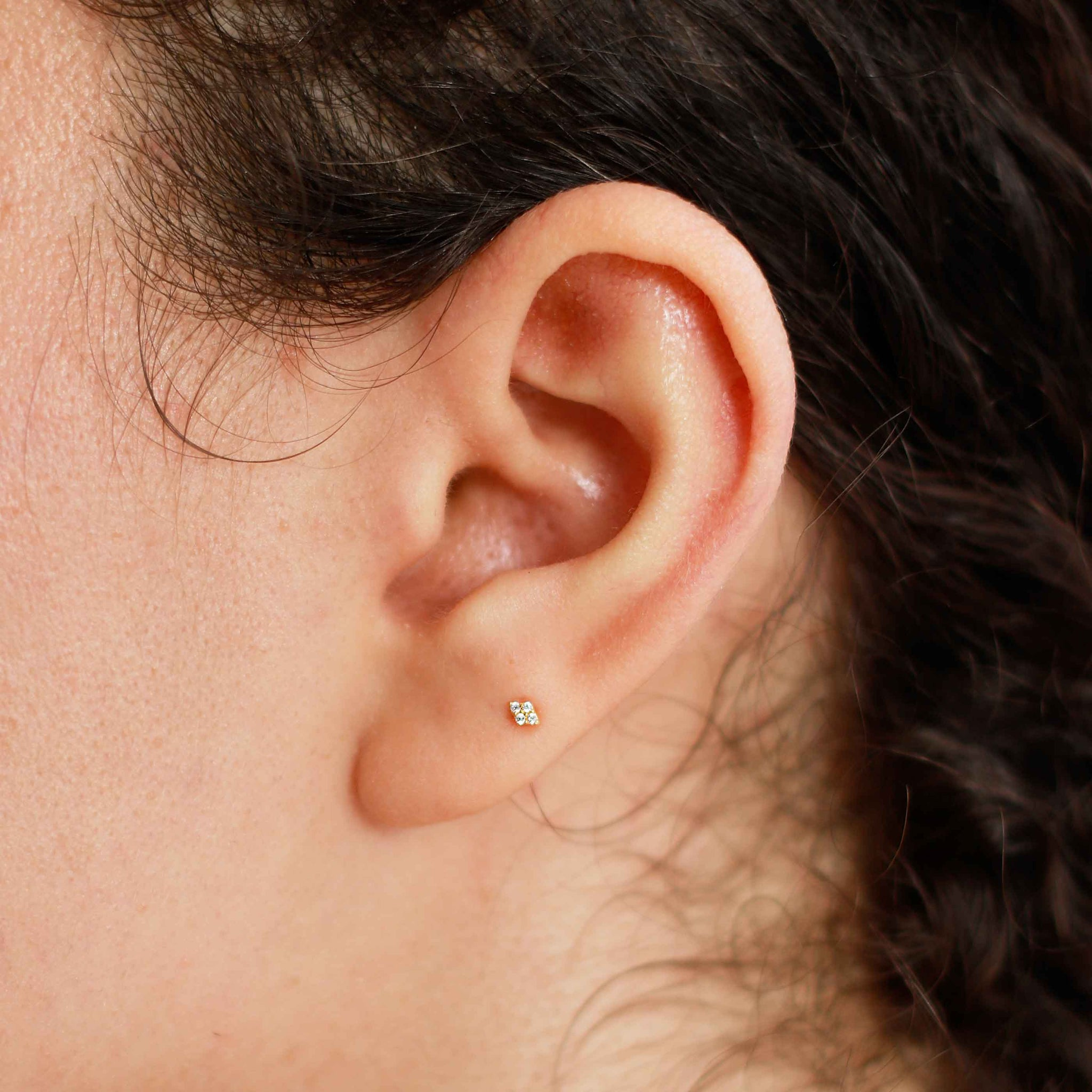 Gem Quartet Barbell in Gold on Ear