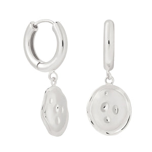 Coin Pendant Chunky Hoops in Silver