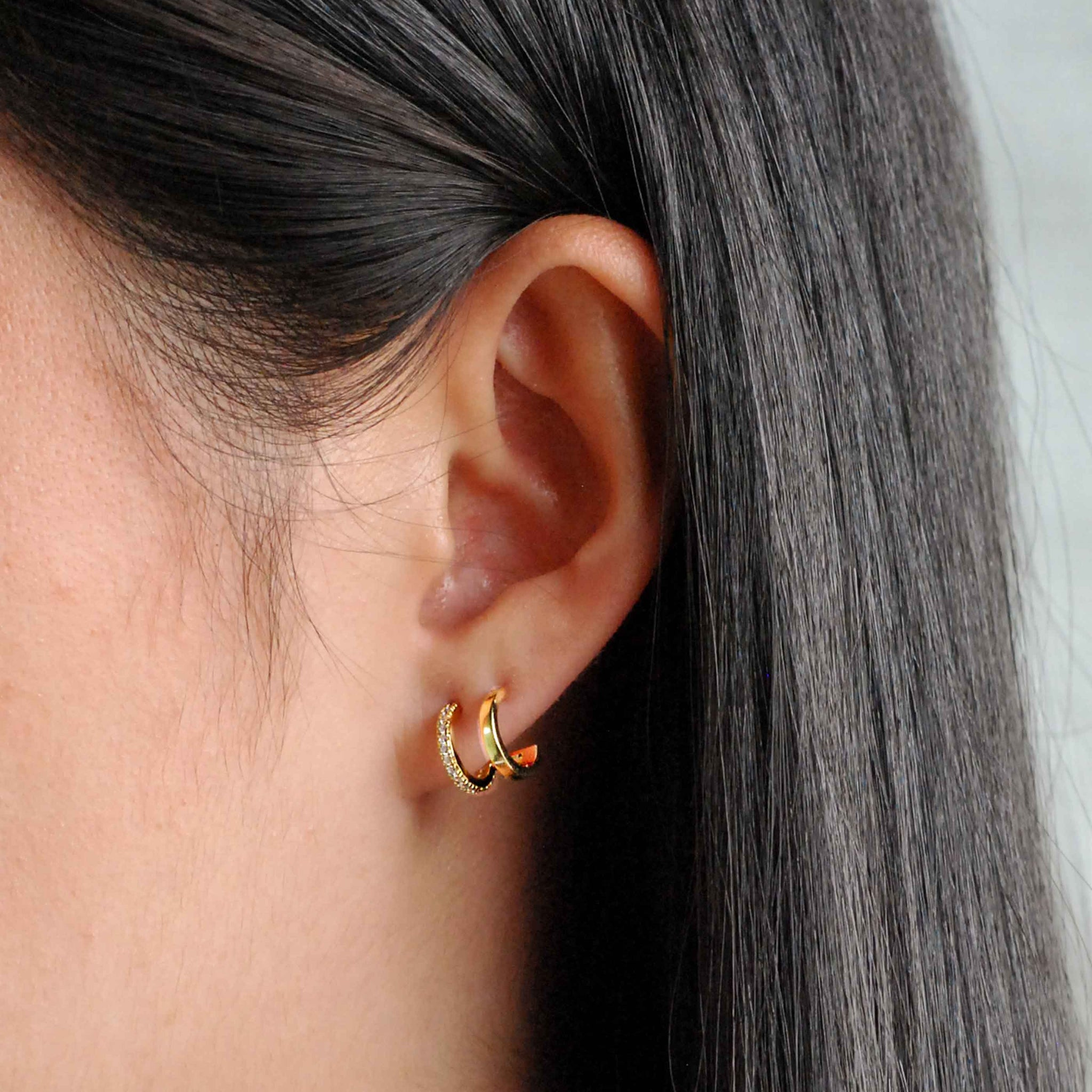 Illusion Stud Earrings in Gold worn shot