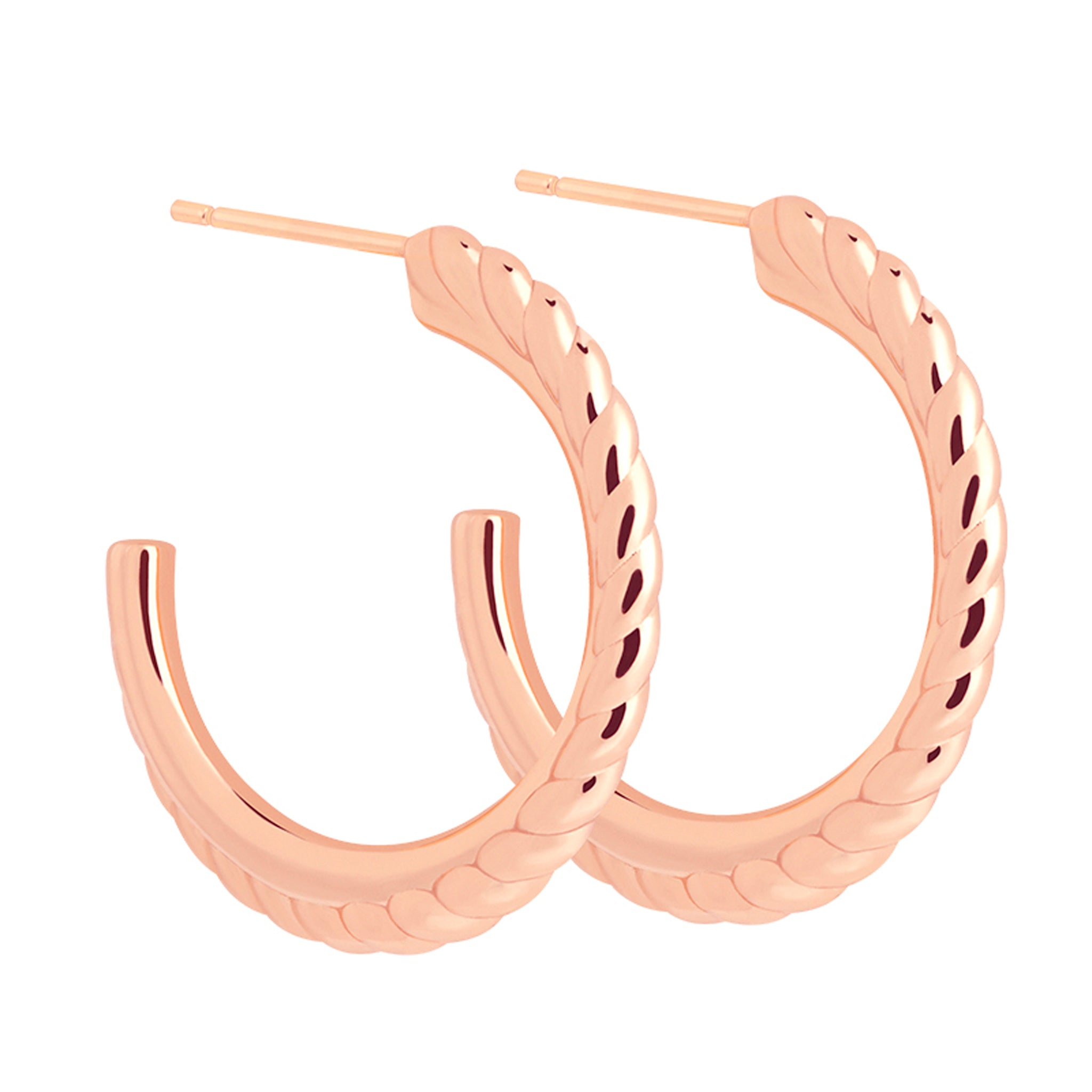 Interlocked Band Hoops in Rose Gold
