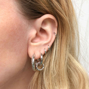 Rope Charm Hoops in Silver