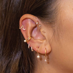 Jewelled Clicker in Rose Gold worn in upper lobe piercing