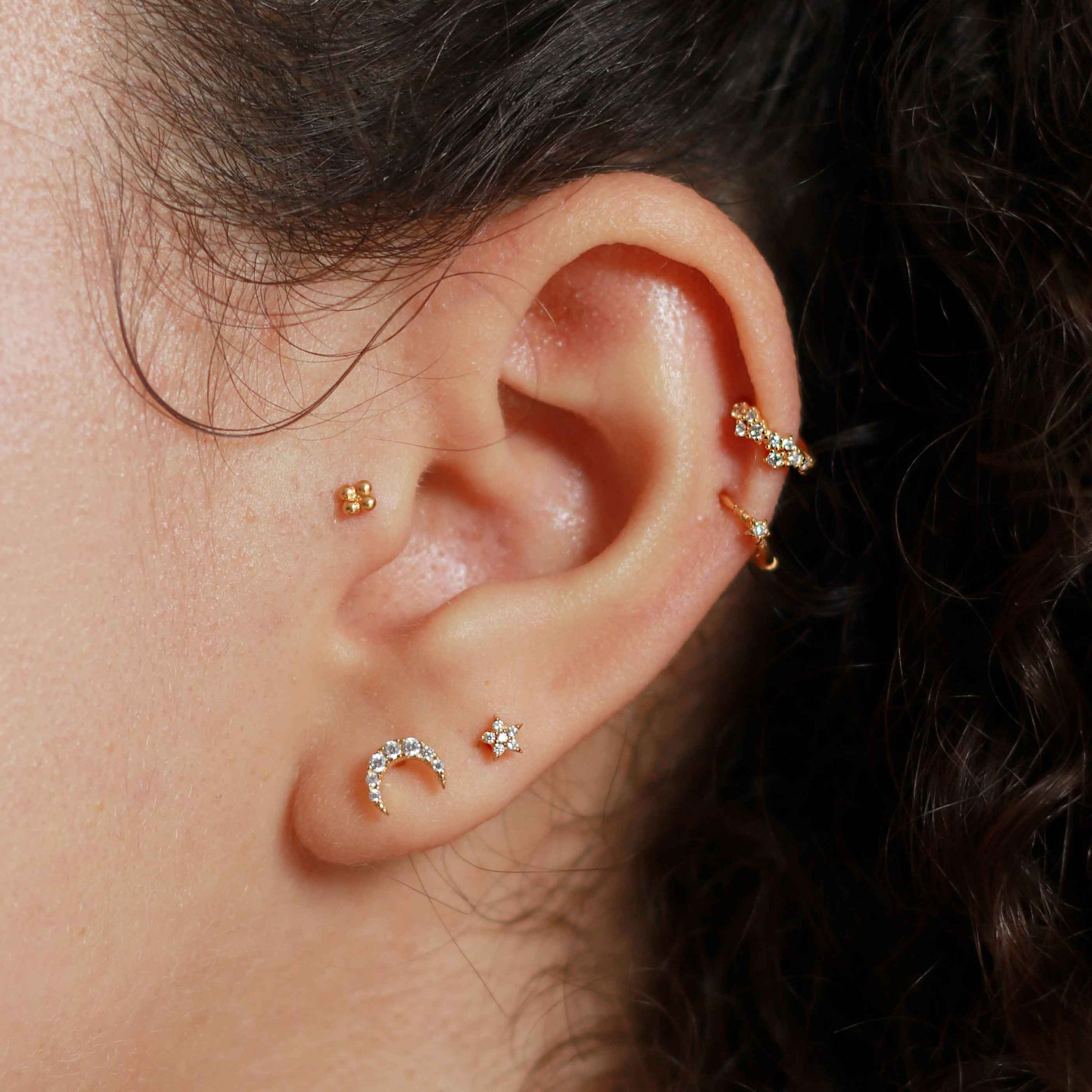 Jewelled Star Barbell in Gold on Ear Stack