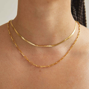 Long Link Chain Necklace in Gold