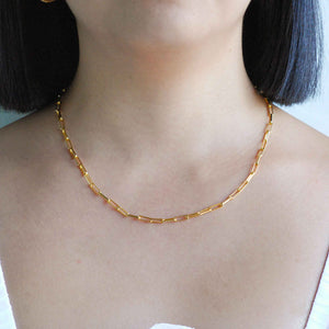 Long Link Chain Necklace in Gold worn shot