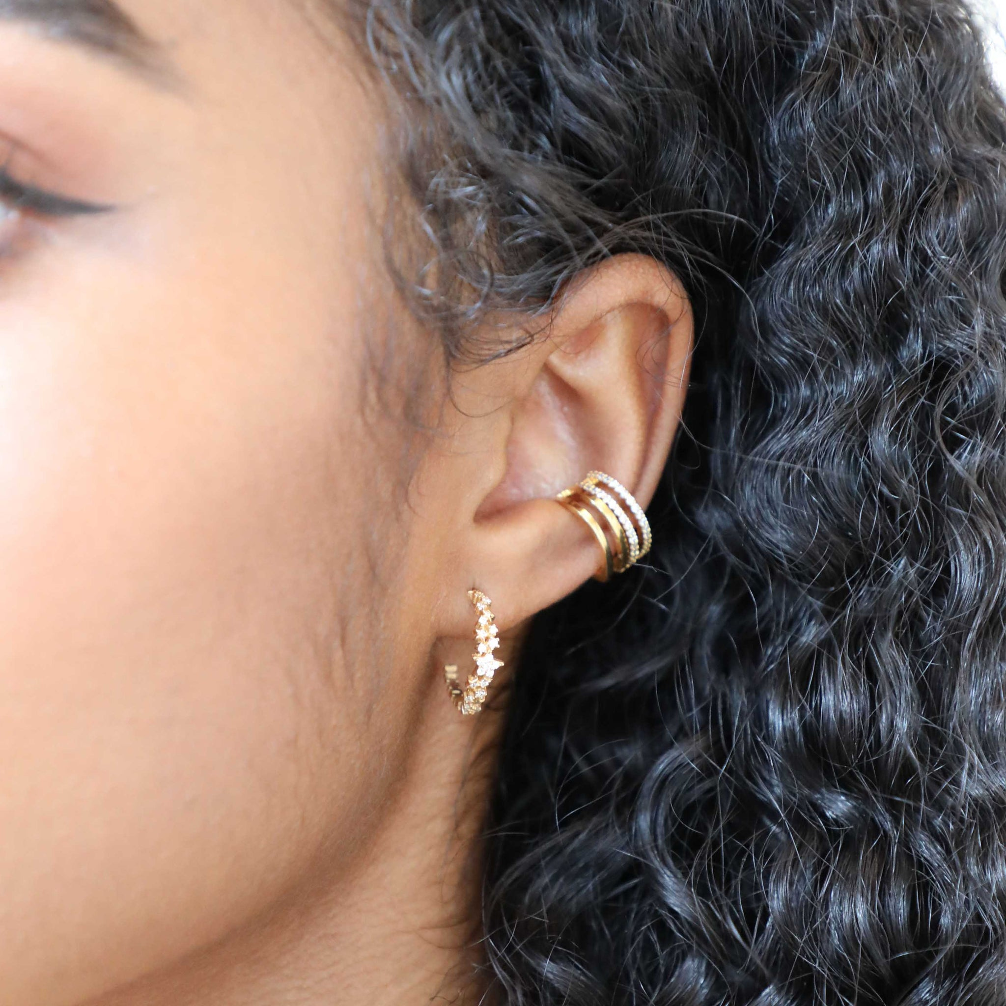Mystic Star Hoops in Gold worn with ear cuffs
