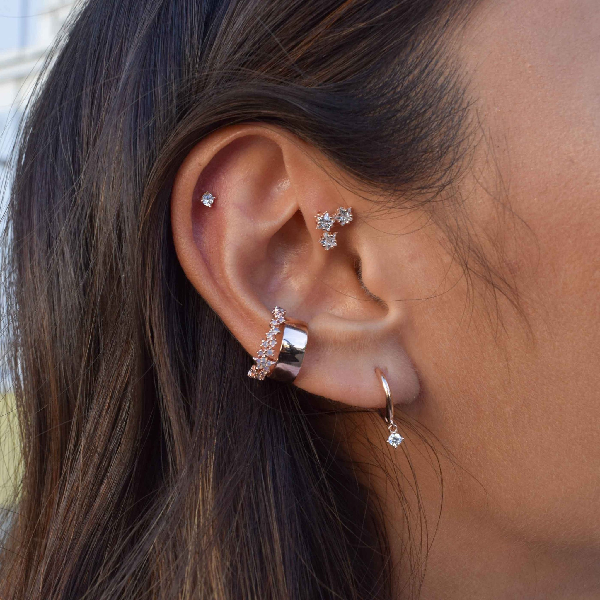 Mystic Drop Gem Hoops in Rose Gold worn with rose gold ear cuffs