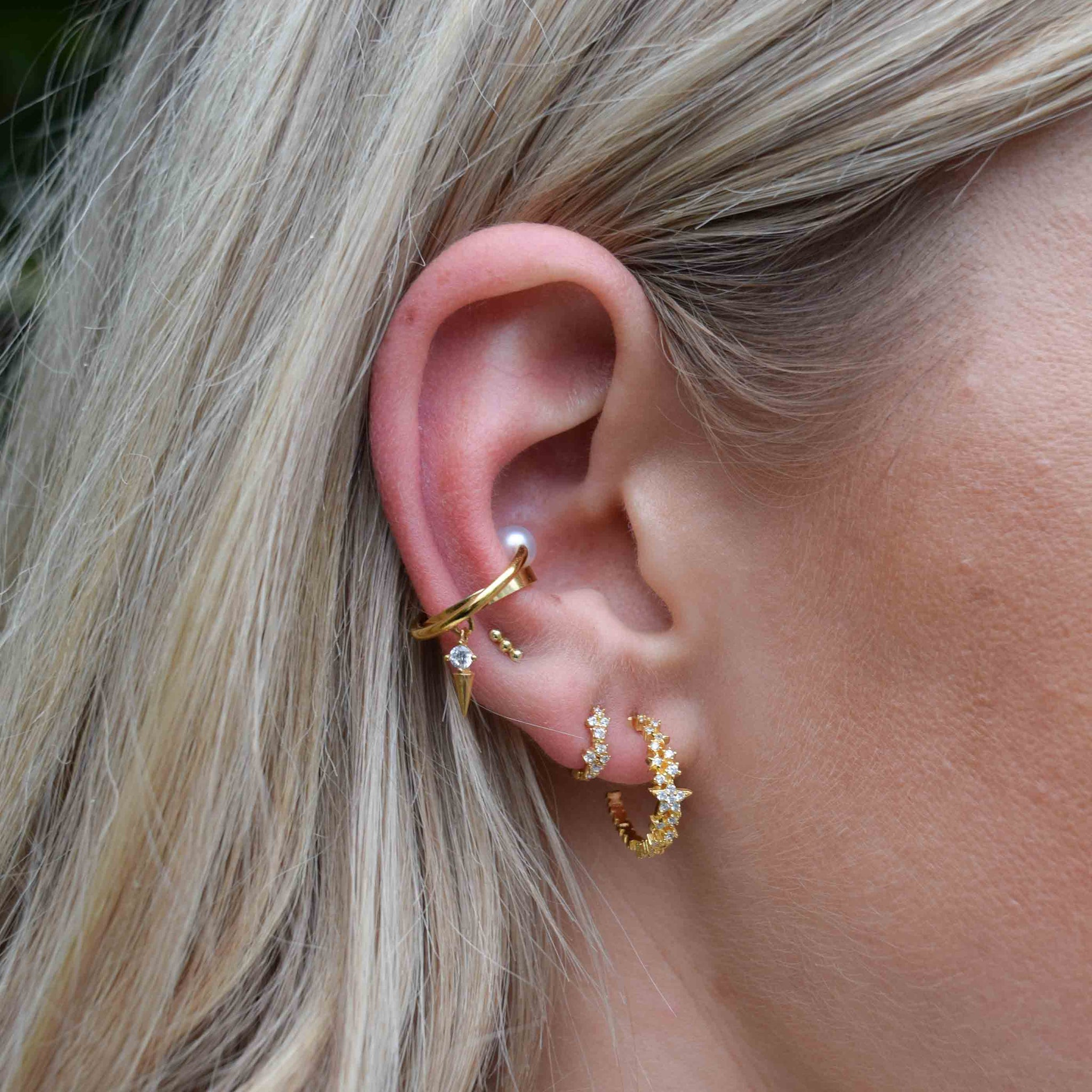 Mystic Star Hoops in Gold worn shot