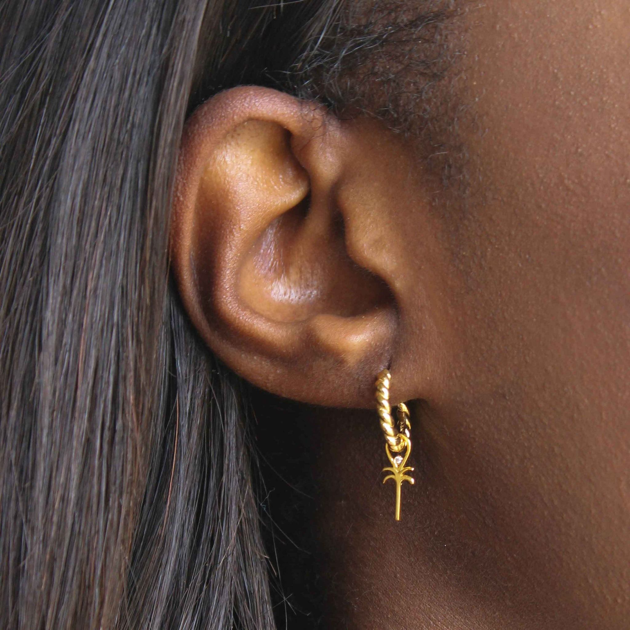 Palm Tree Earring Charm in Gold worn on rope base hoop