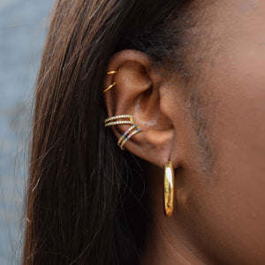 Rainbow Wishbone Ear Cuff in Gold worn with wishbone ear cuff