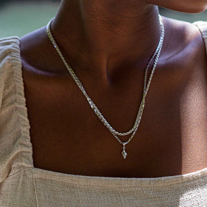 Rectangular Link Necklace Chain in Silver  worn with rope chain necklace