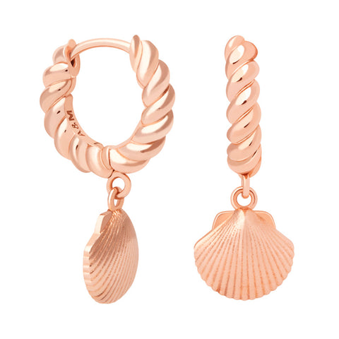 Rope & Shell Hoops in Rose Gold